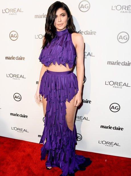 Kylie Jenner wows in revealing purple Balmain dres