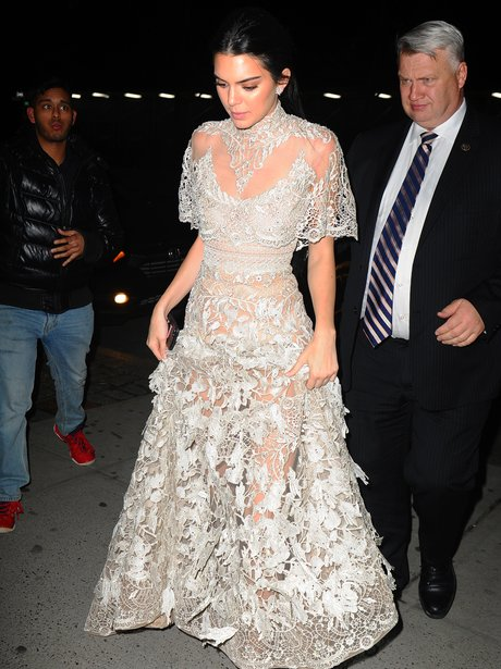 Kendall Jenner looks amazing in lace gown as she f