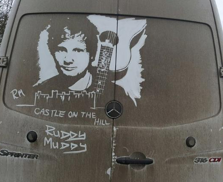 Ed Sheeran art on the back of a van by Ruddy Muddy