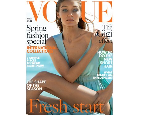 Gigi Hadid poses for the cover of British Vogue
