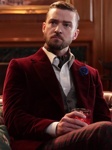 Justin Timberlake poses in a suit as he promotes h