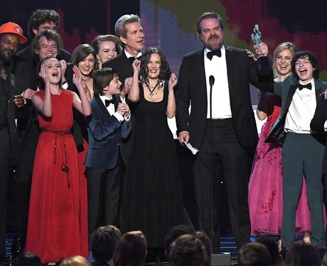 Stranger Things cast accept their award but all ey