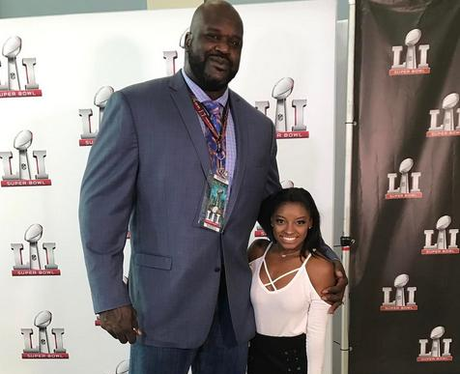 Simone Biles with Shaquille O'Neal