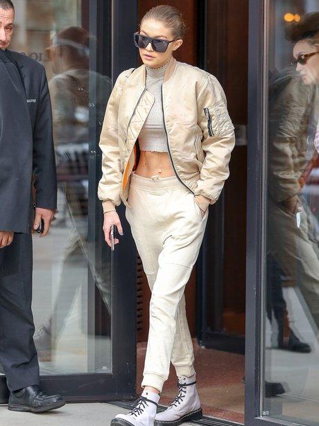 Gigi Hadid flaunts her toned abs