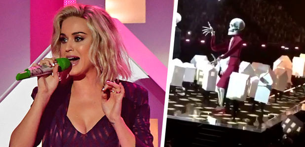 Watch Katy Perry S Dancer Hilariously Fell Off Stage At The Brits