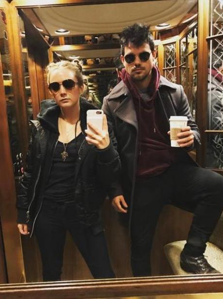 Billie Lourd with Taylor Lautner