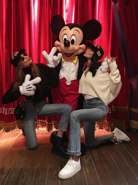 Gigi and Bella Hadid hang out with Micky Mouse