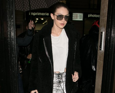 Gigi Hadid wear silver trousers