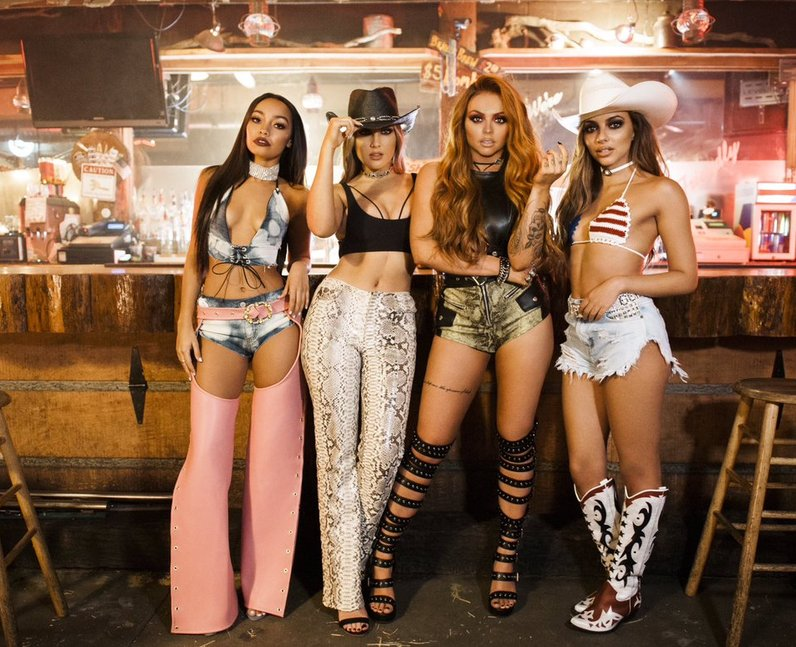 Little Mix on set of their new video for 'No More