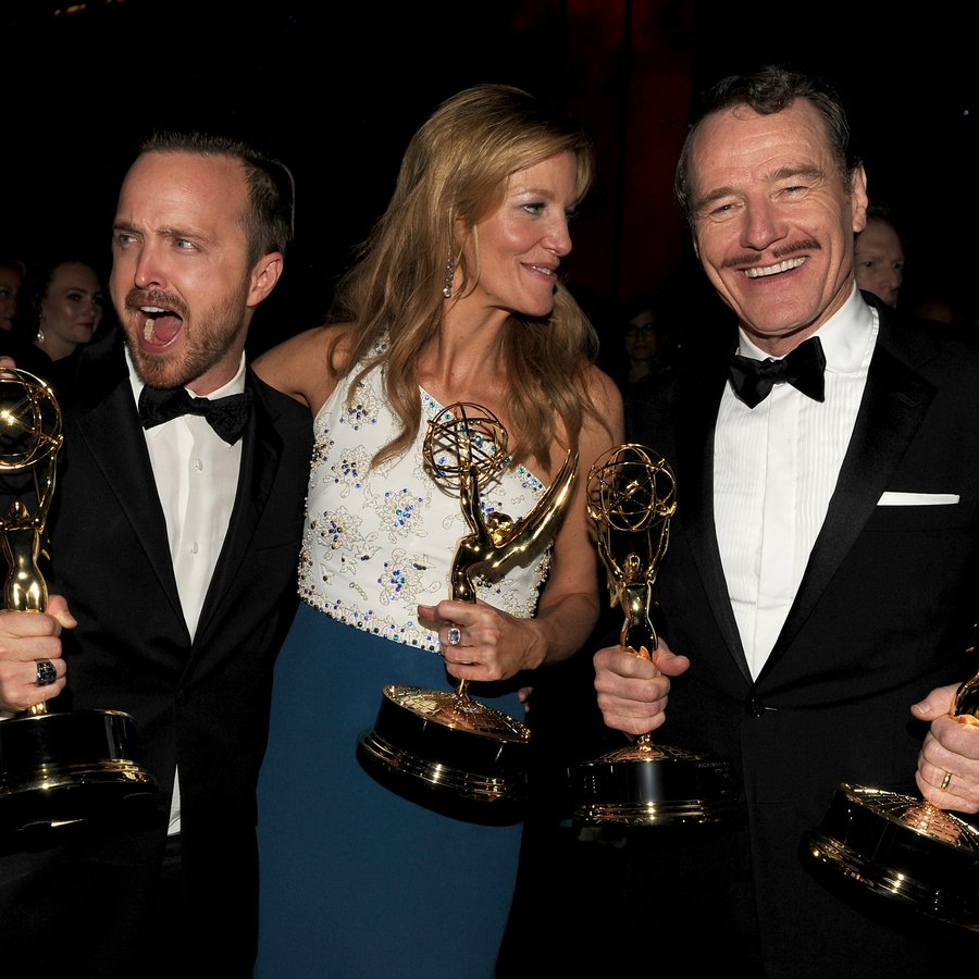 Aaron Paul, Anna Gunn and Bryan Cranston 66th Annual Primetime Emmy Awards
