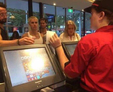 Justin Bieber in McDonalds in Australia
