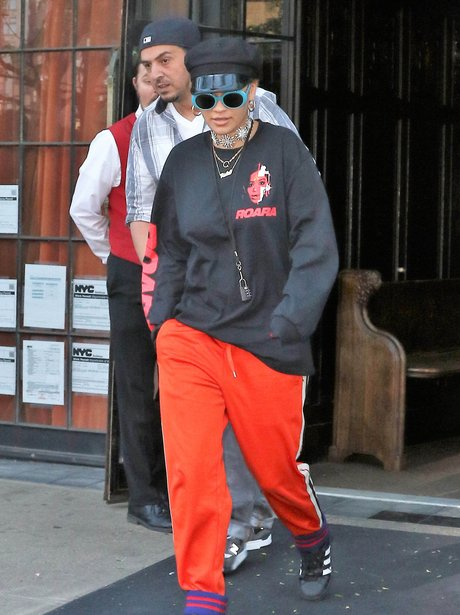 Rita Ora steps out in cap and trackies