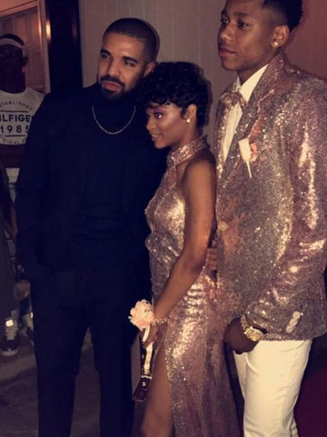 Drake escorts his cousin and date to their prom