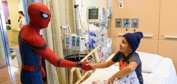 spiderman tom holland visits fans in hospital