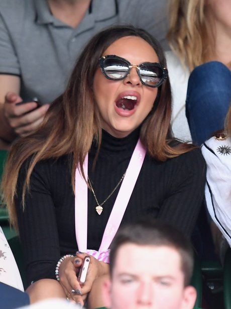 Jade Thirlwall looks slightly bored at Wimbledon