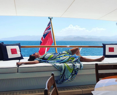 Kris Jenner relaxes on luxury yacht