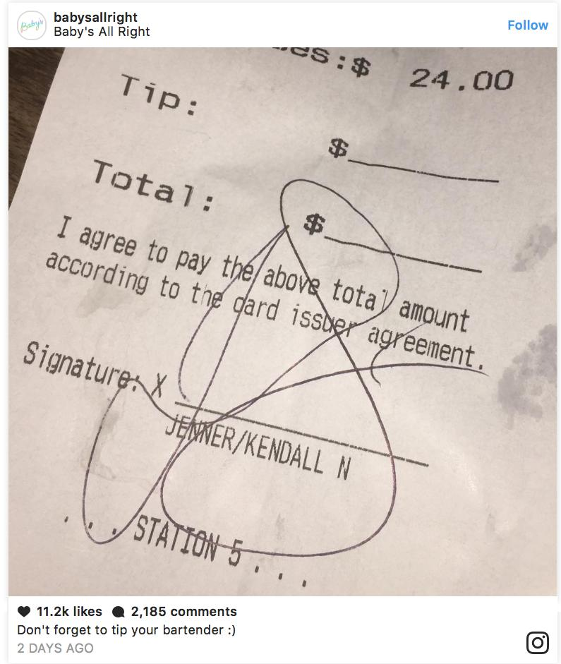 Kendall Jenner is tight and didn't tip her waiter