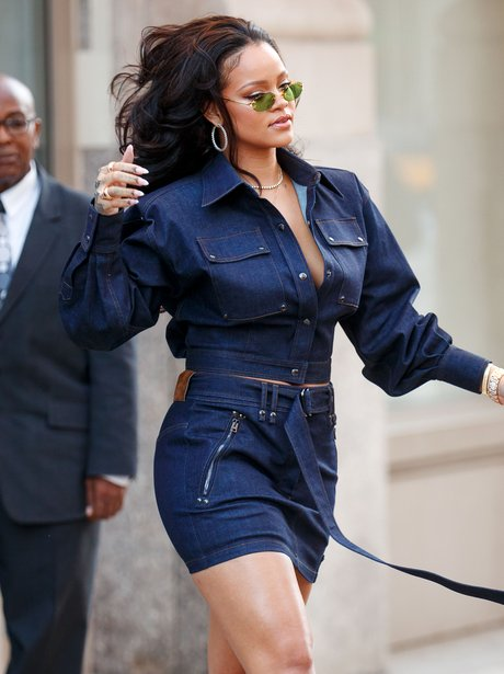 Rihanna wears the new Tom Ford collection before a
