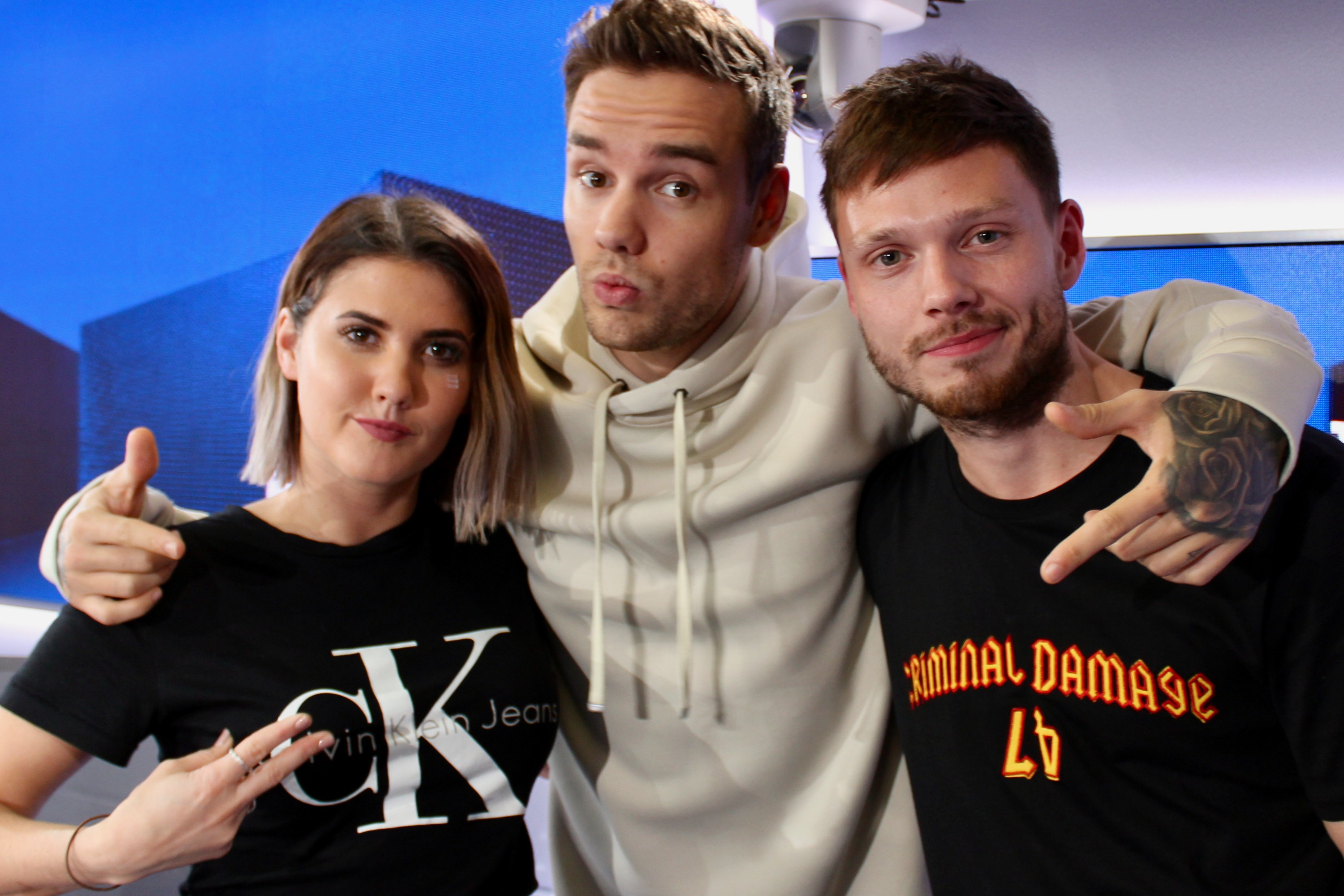 Liam Payne with Will Manning and Aimee Vivian