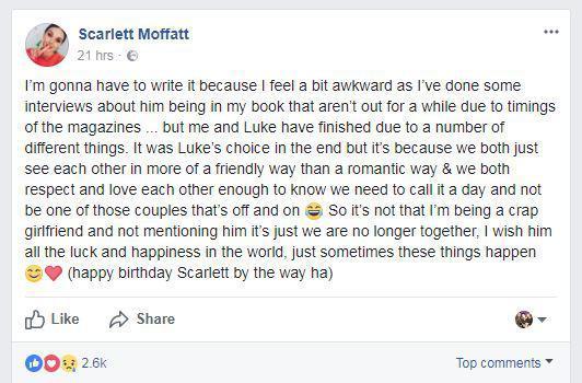 Scarlett Moffatt's Facebook Post