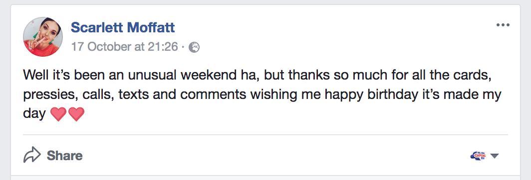 Scarlett Moffatt's Facebook Post 2