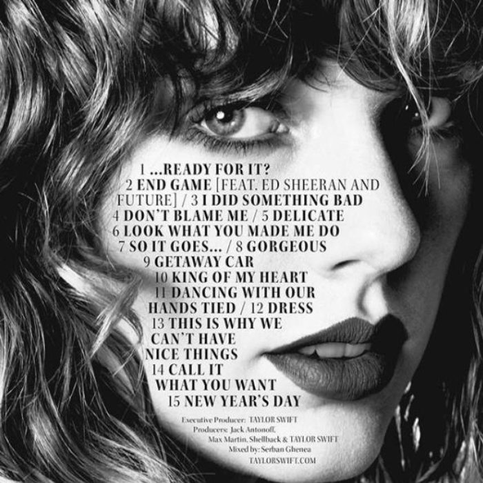 reputation taylor swift track listing