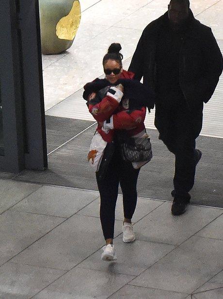 Rihanna arrives in London