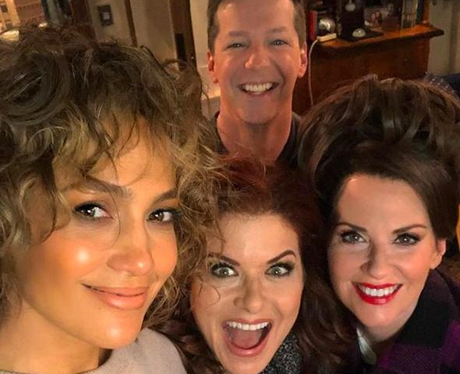 J-Lo and the cast of Will & Grace