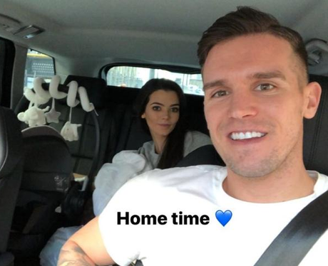 Gaz Beadle and Emma McVey taking baby home