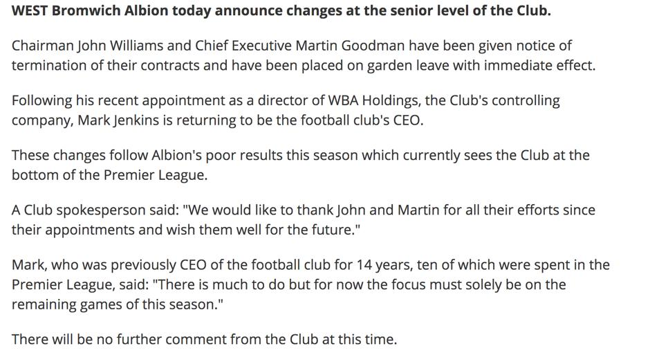 West Brom Statement - sack Chairman and Chief Exec