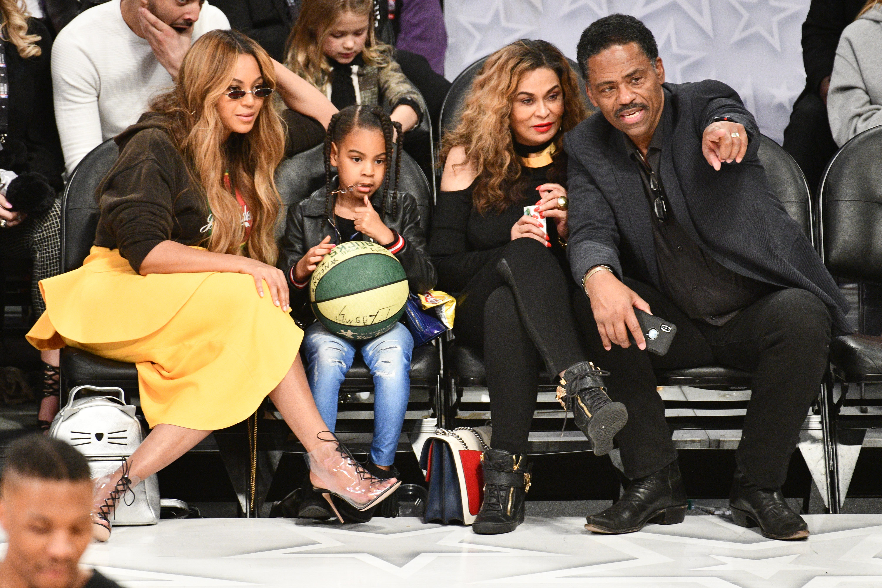 Beyonce, Blue Ivy, Richard and Tina Lawson