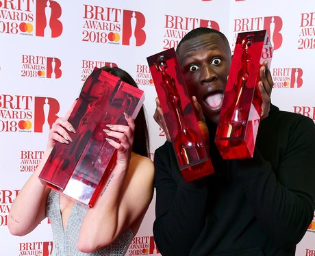 Stormzy and Dua Lipa backstage BRIT Awards 2018