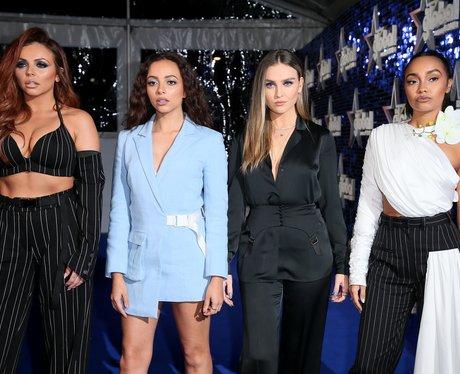 Little Mix Global Awards 2018 blue carpet