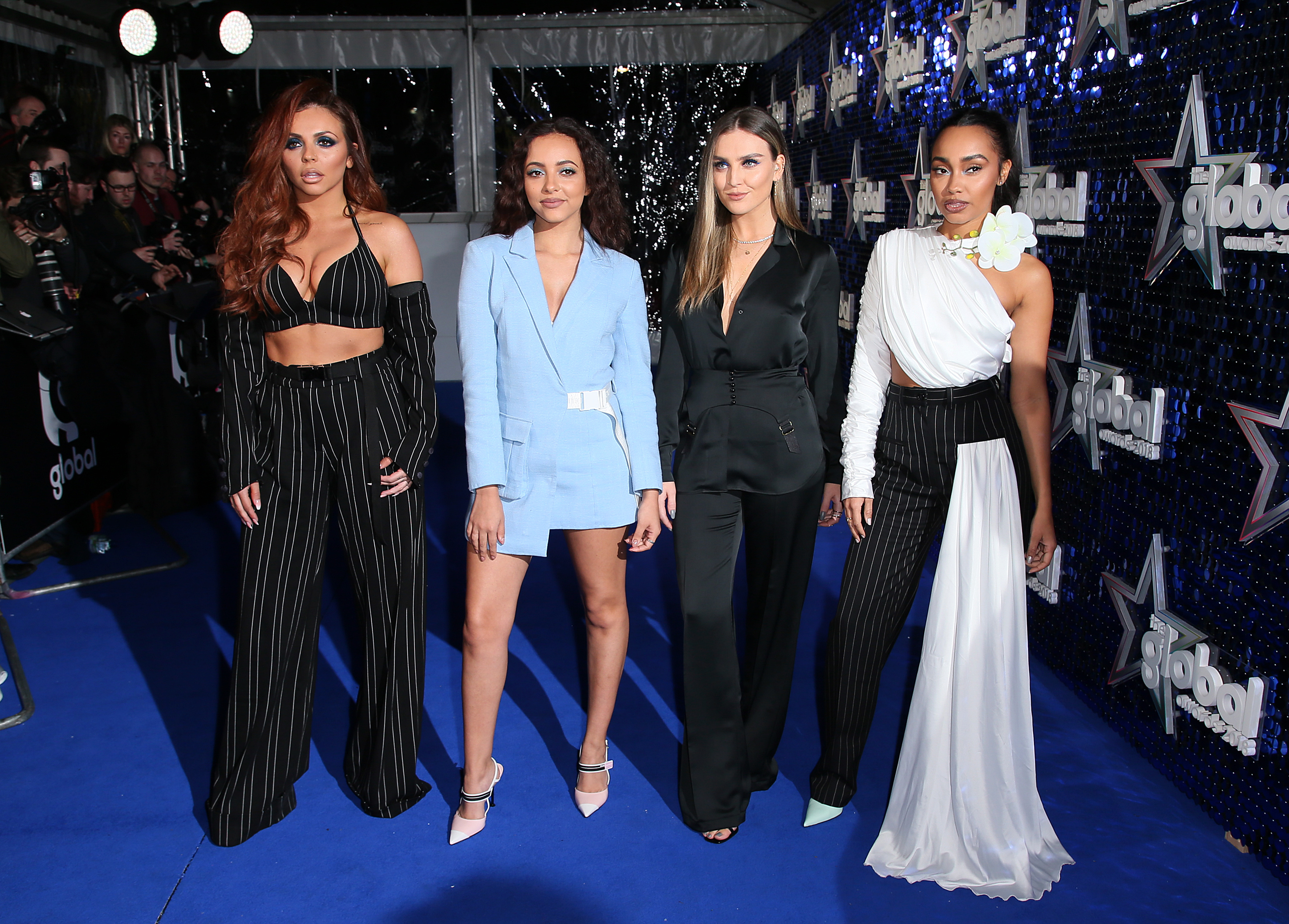 Little Mix Global Awards 2018 blue carpet
