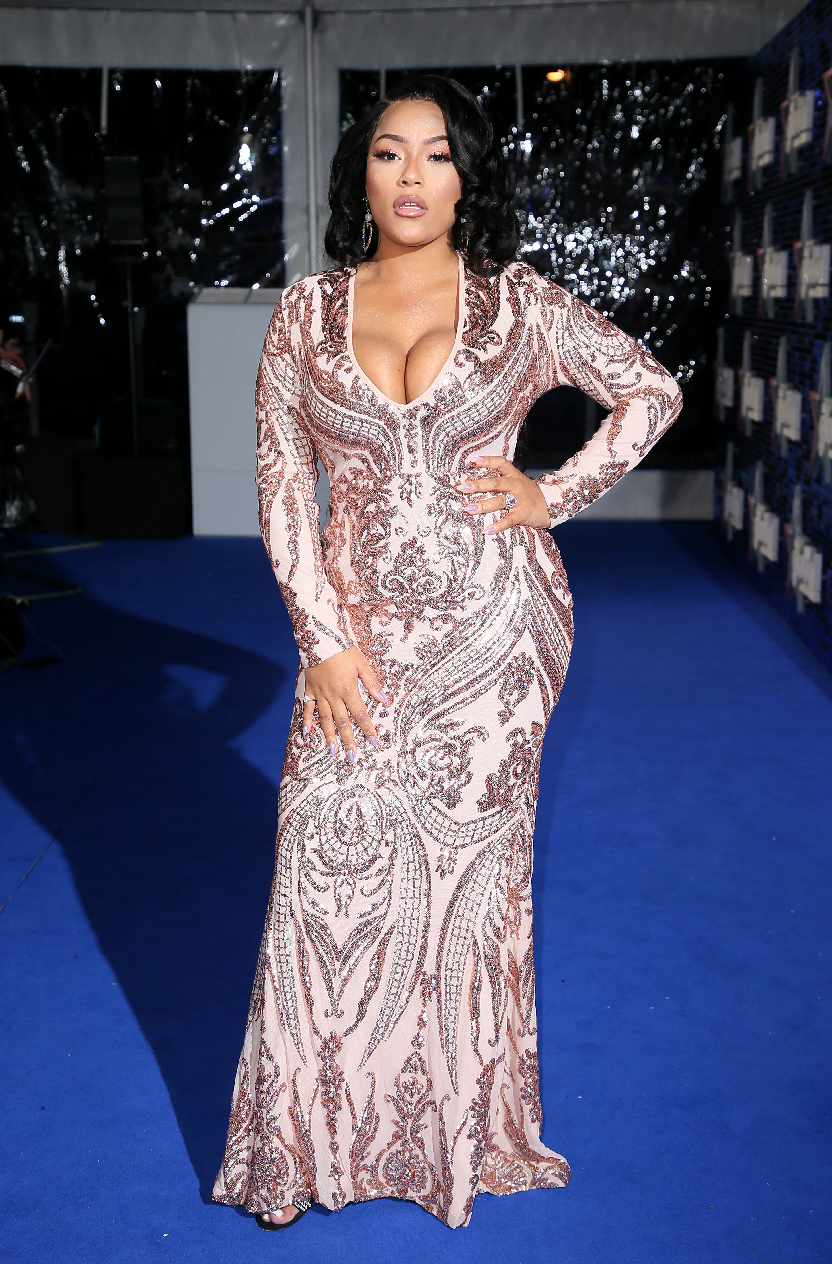 Stefflon Don Global Awards 2018 blue carpet