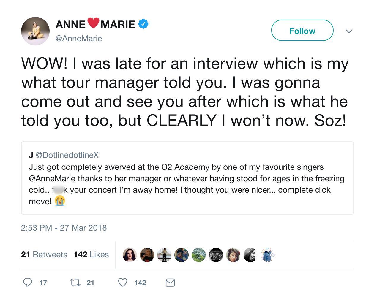 Anne-Marie Tweet 1