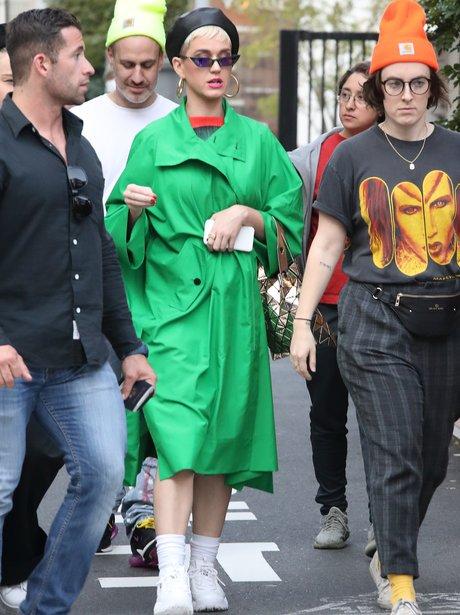 Katy Perry In Tokyo Wearing Green Coat