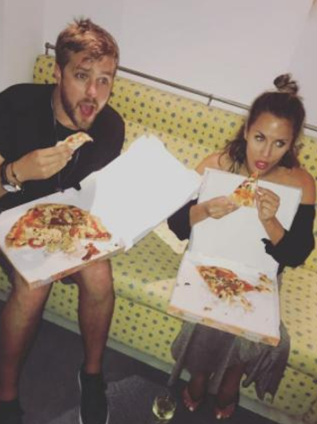 Caroline Flack Iain Stirling pizza
