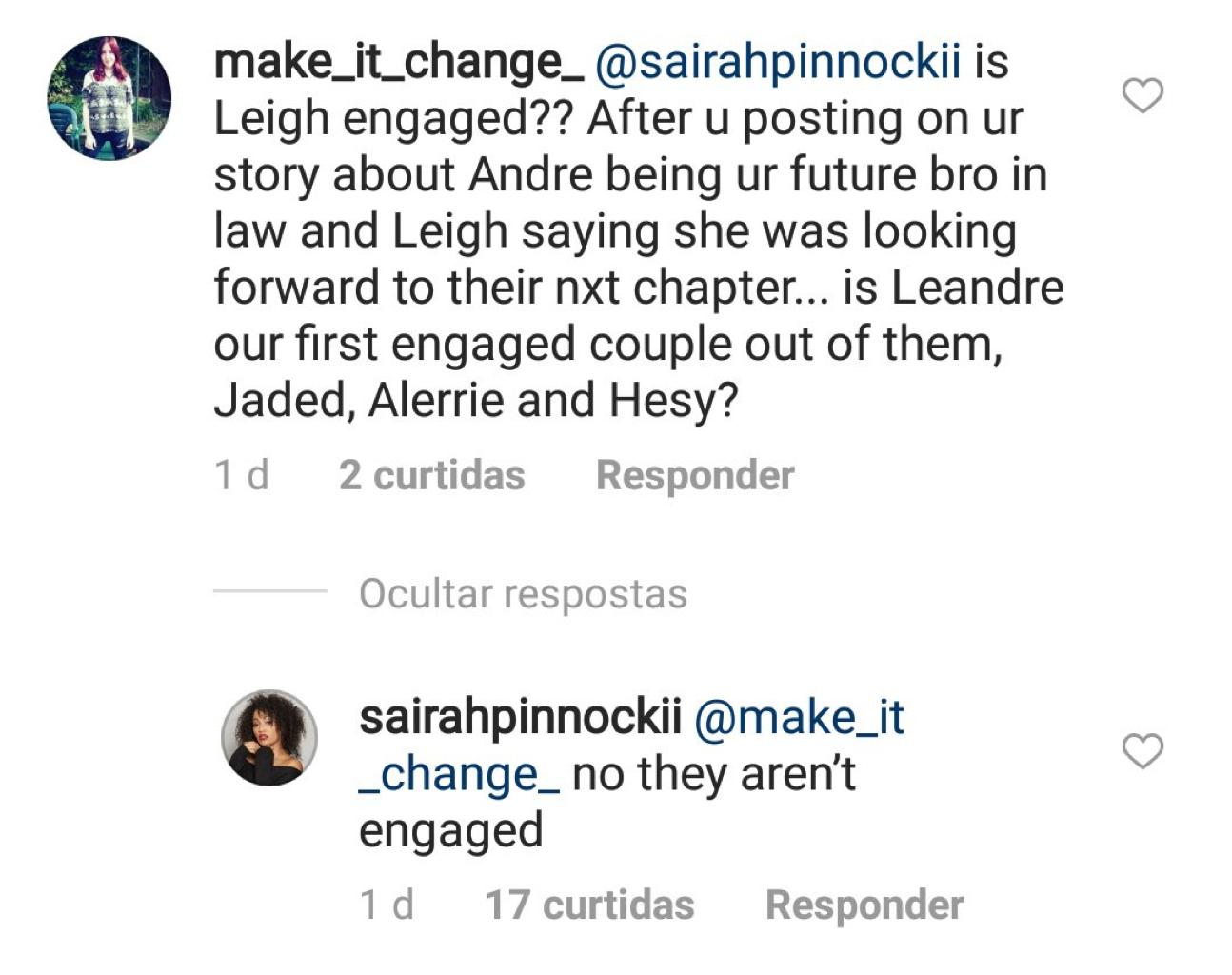 Sairah Pinnock's Instagram Comments