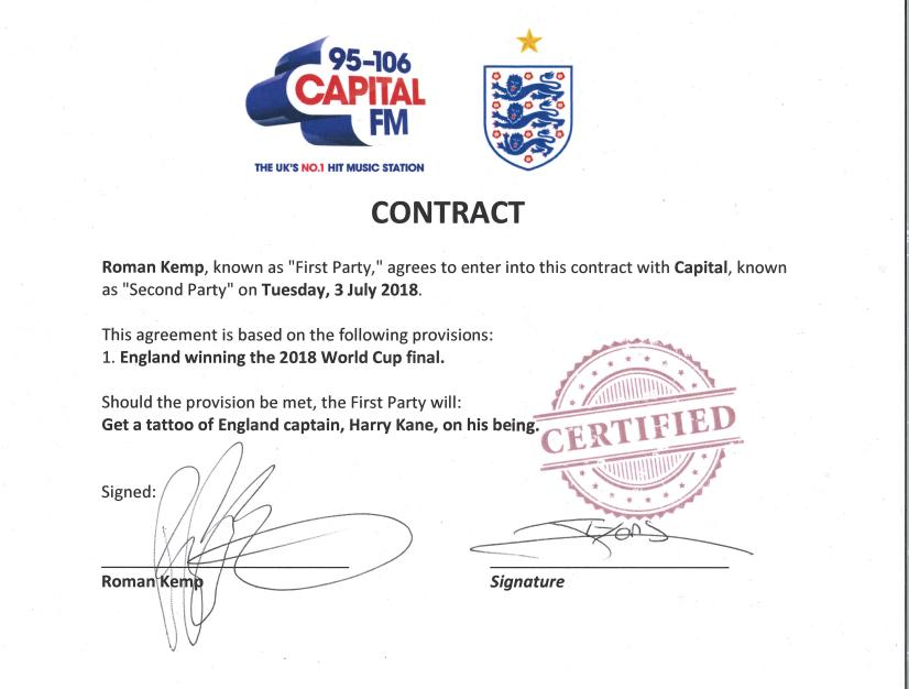 Roman Kemp World Cup Contract